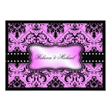 Beautiful Purple & Black Vintage Damask RSVP Cards