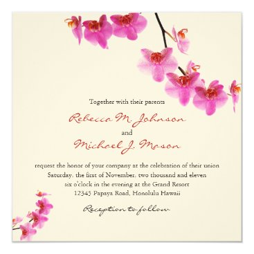 Beautiful Red and Hot Pink Orchids Invitation