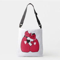 Beautiful Red Valentine Cats Print Cross Body Bag