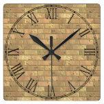 Beautiful Rustic Brick wall Texture Square Wall Clocks