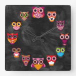 Beautiful Rustic Owls Square Wallclock