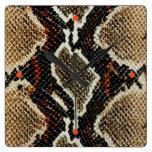 Beautiful snake skin pattern square wall clock