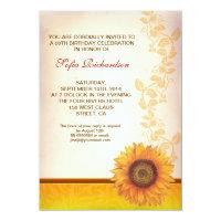 beautiful sunflower blossom birthday invitations