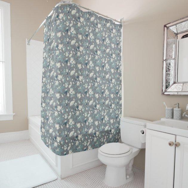beautiful vines cream blue gray floral print shower curtain zazzle com