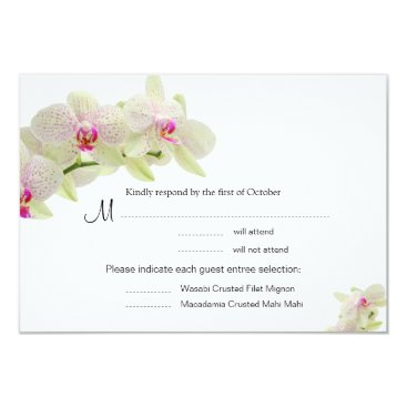 Beautiful White and Hot Pink Orchids RSVP Cards