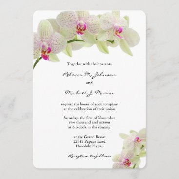 Beautiful White and Hot Pink Orchids Wedding Invitation