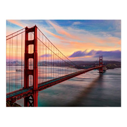 Beautiful winter sunset at Golden Gate Bridge Postcard