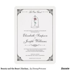 Beauty and the Beast Enchanted Rose Wedding Invitation