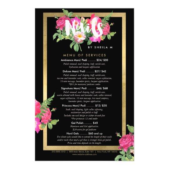 Beauty Florals Nail Salon Price List Service Menu Zazzlecom