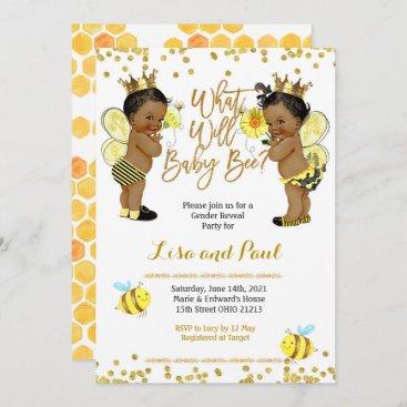 Bee African American Gender Reveal Invitation