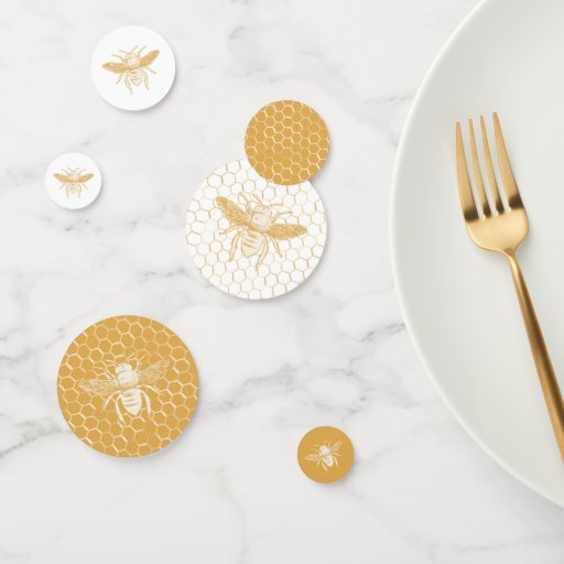 Bee and Golden Honeycomb Pattern Confetti
