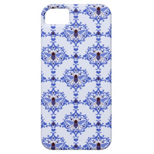 Bee bumblebee blue damask vintage insect pattern iPhone SE/5/5s case