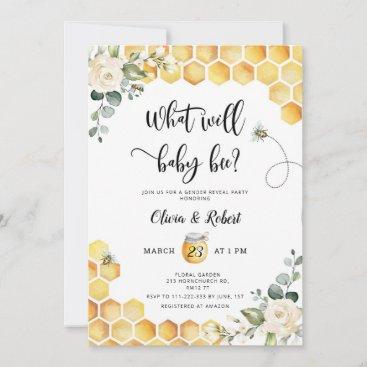 Bee gender reveal invitation
