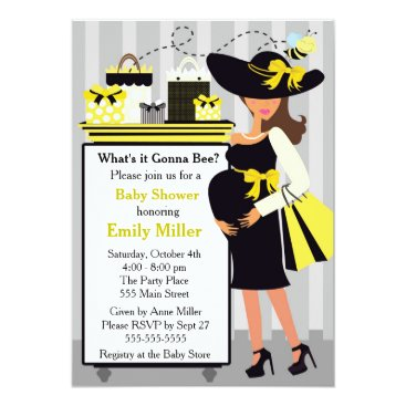Bee Invitation Baby Shower Gender Reveal Pregnant