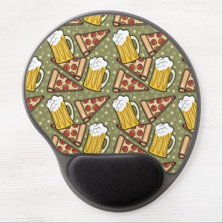 Beer and Pizza Graphic Mouse Pad