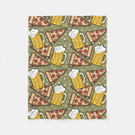 Beer and Pizza Graphic Pattern Fleece Blanket