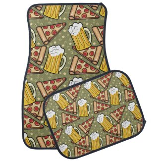 Beer and Pizza Graphic Pattern Floor Mat