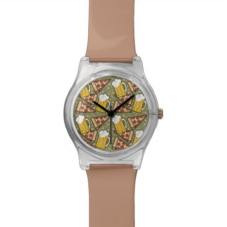 Beer and Pizza Graphic Pattern Watch