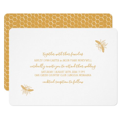 Bees and Golden Honeycomb Pattern Wedding Invitation