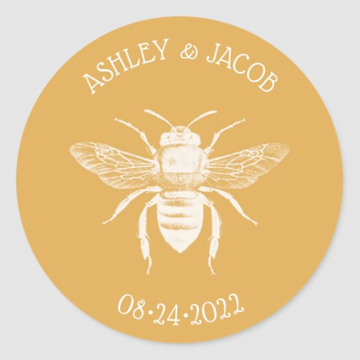 Bees and Golden Honeycomb Wedding Classic Round Sticker