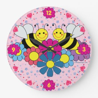 Bees & Flowers Design Illustration Large Clock