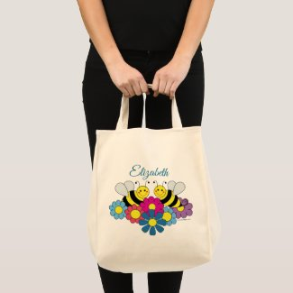 Bees & Flowers Personalize Tote Bag