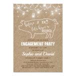 Pretty Burlap With String Lights Pig Themed I Do BBQ Invitation