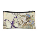 beige vintage butterfly seashell French botanical Makeup Bag