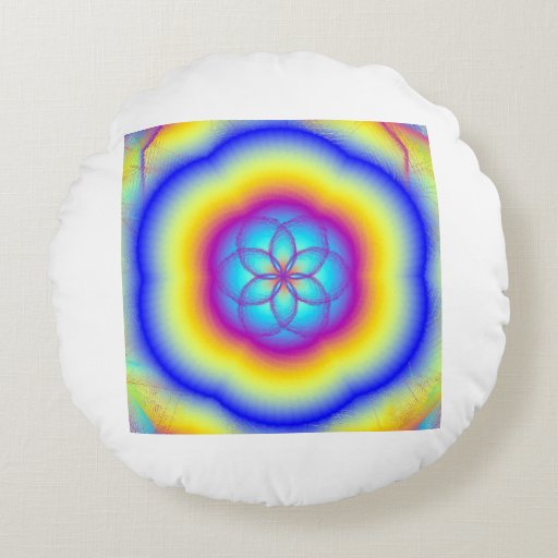 Beings of Light Round Throw Pillow Round Pillow