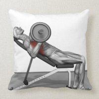 Bench Press Incline Throw Pillow | Zazzle