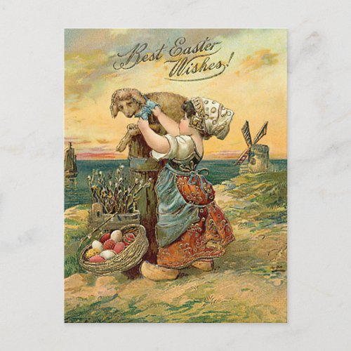 Best Easter Wishes Dutch Girl Postcard