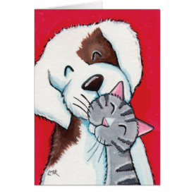 Best Friends - Cute Whimsical Tabby Cat & Dog Art Greeting Card