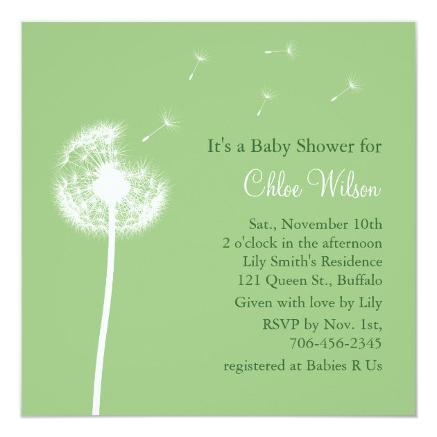 Best Wishes Baby Shower Invitation Green