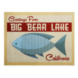 Big Bear Lake Blue Fish Vintage Travel Postcard