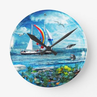 Big Blue Ocean Bubble Natures Playground Wallclocks
