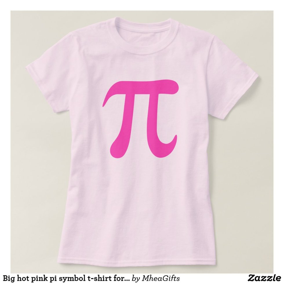 Big hot pink pi symbol t-shirt for girls and women