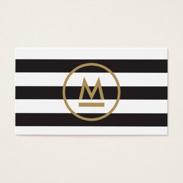 Big Initial Modern Monogram on Bold Stripes Business Card