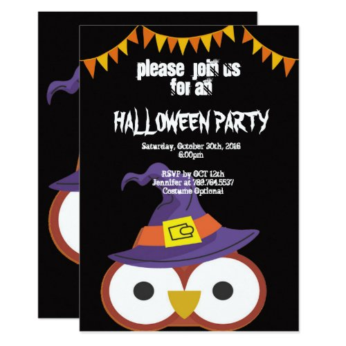 big owl eye and ribbon Halloween Invitation