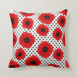 Big Red Poppy Flowers on Black and White Polka Dot Pillows