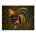 Big Rooster On The Country Farm Deco Ranch Art Postcard