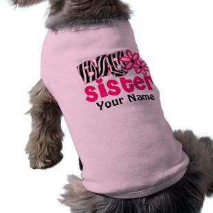 Big Sister Zebra Personalized Dog T Shirt