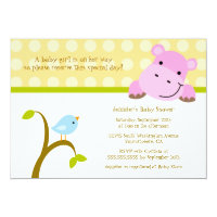 Bird and hippo polkadots baby shower invitation