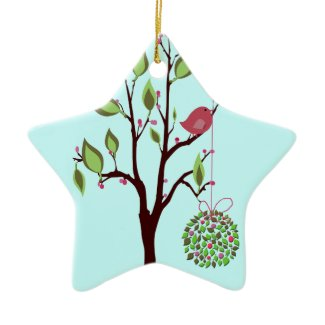 Bird with Mistletoe and Berries Ornament ornament