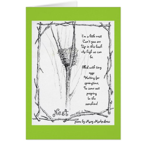 Birds Nest in Winter sketch in ink with poem card
