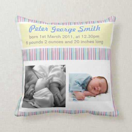 Birth Announcement Boy/Girl Pillow