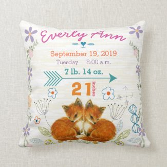 Birth Stats Baby Girl Woodland Creatures Fox Pillows