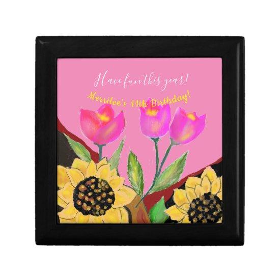 Birthday Bright Pink Background Sunflower & Tulip Gift Box