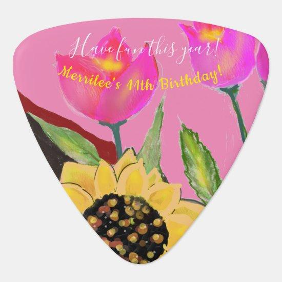 Birthday Bright Pink Background Sunflower & Tulip Guitar Pick