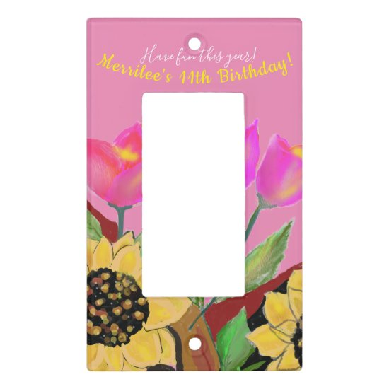 Birthday Bright Pink Background Sunflower & Tulip Light Switch Cover