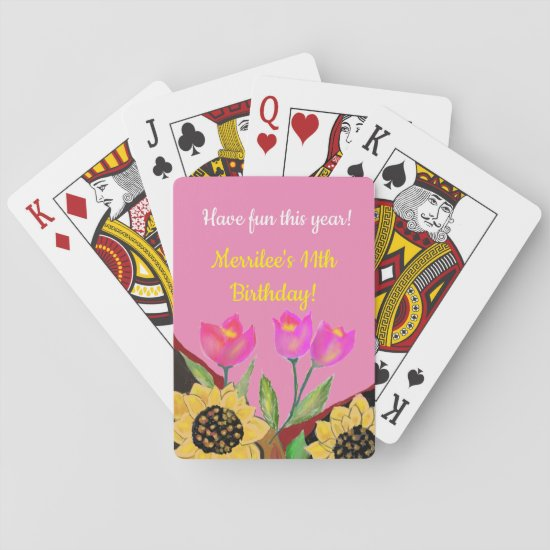 Birthday Bright Pink Background Sunflower & Tulip Playing Cards